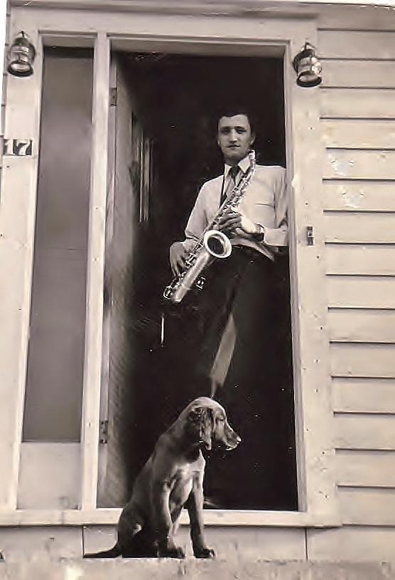 "Dad in his ""Saxophone Era"" at age 19 with his dog Texie (1953)"