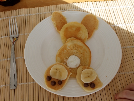 First attempt at bunny pancakes