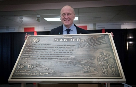 At a special dinner held in Gander, the U.S. Ambassador to Canada, Bruce Heyman unveiled a new plaque thanking the people of this province.