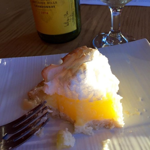 Lemon meringue pie with a glass of Yellowtail!