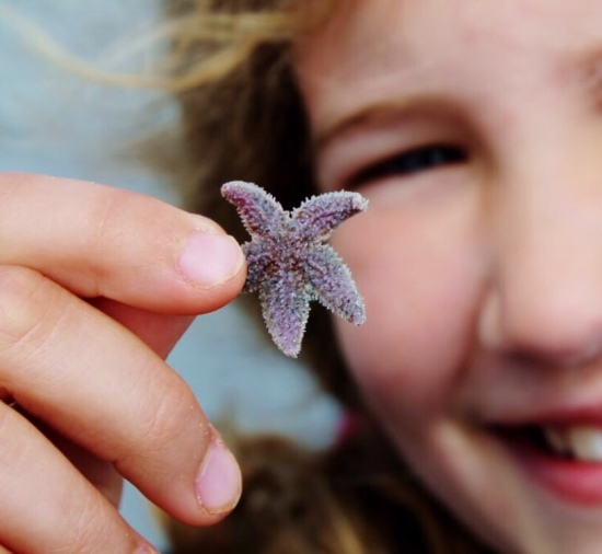 Young Girl with Starfish Sea Star