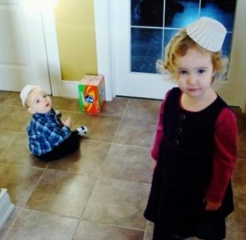 kids wearing coffee filter hats