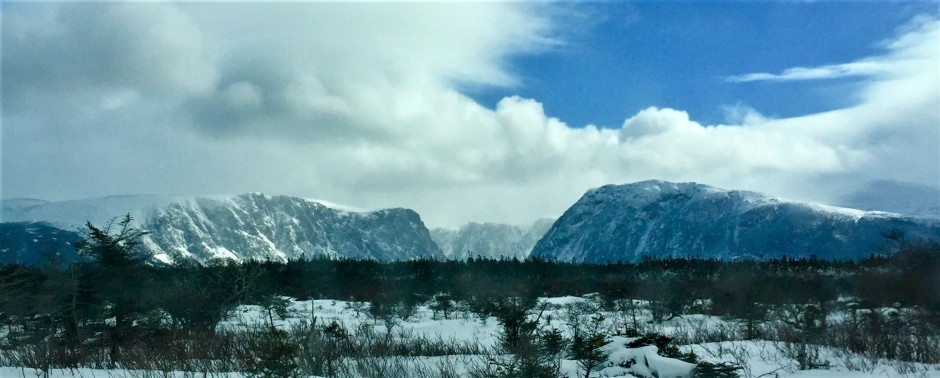 Western Brook Pond Mountains in winter